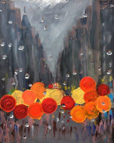 Raindrops in New York.