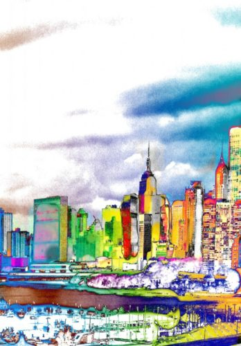 NYColour: New York Abstract with UN Building. LEP £375