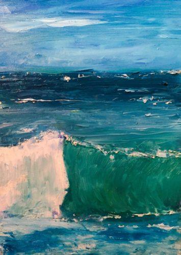 Sailing on Surf. Oil on canvas